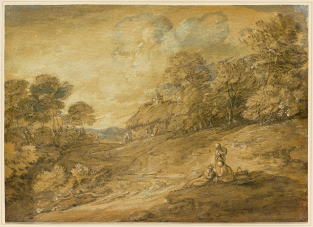 , 'Wooded Landscape with Figures and Winding Track Leading to a Cottage,' mid-to late 1780s, Clark Art Institute