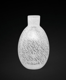 A small vase made of merletto lattimo glass