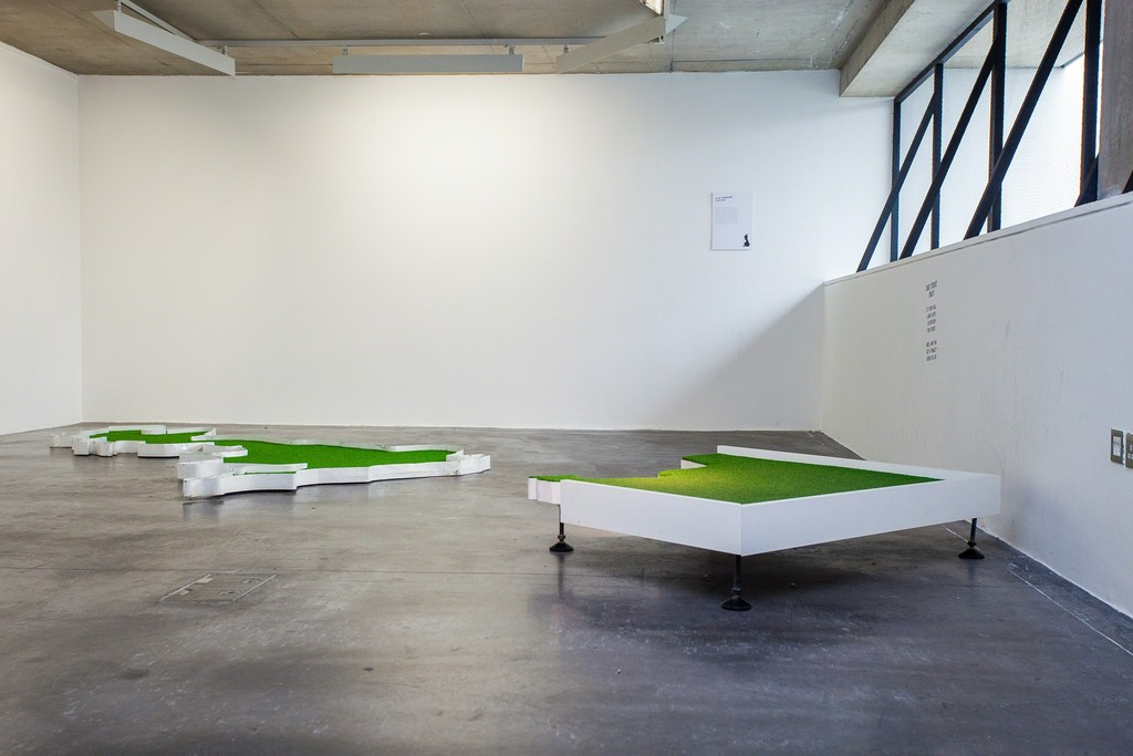 "Installation view of ""Doug Fishbone's Leisure Land Golf"" at New Art Exchange, Nottingham (2016) Photo by Bartosz Kali"