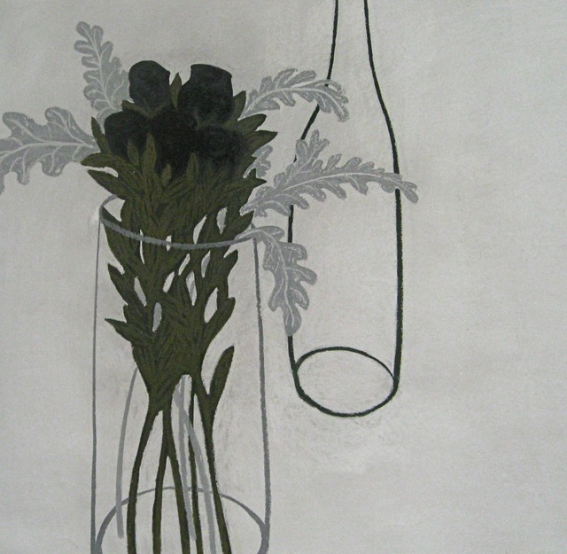 , 'Grey Leaves with Deep Red Roses ,' 2012, Susan Eley Fine Art