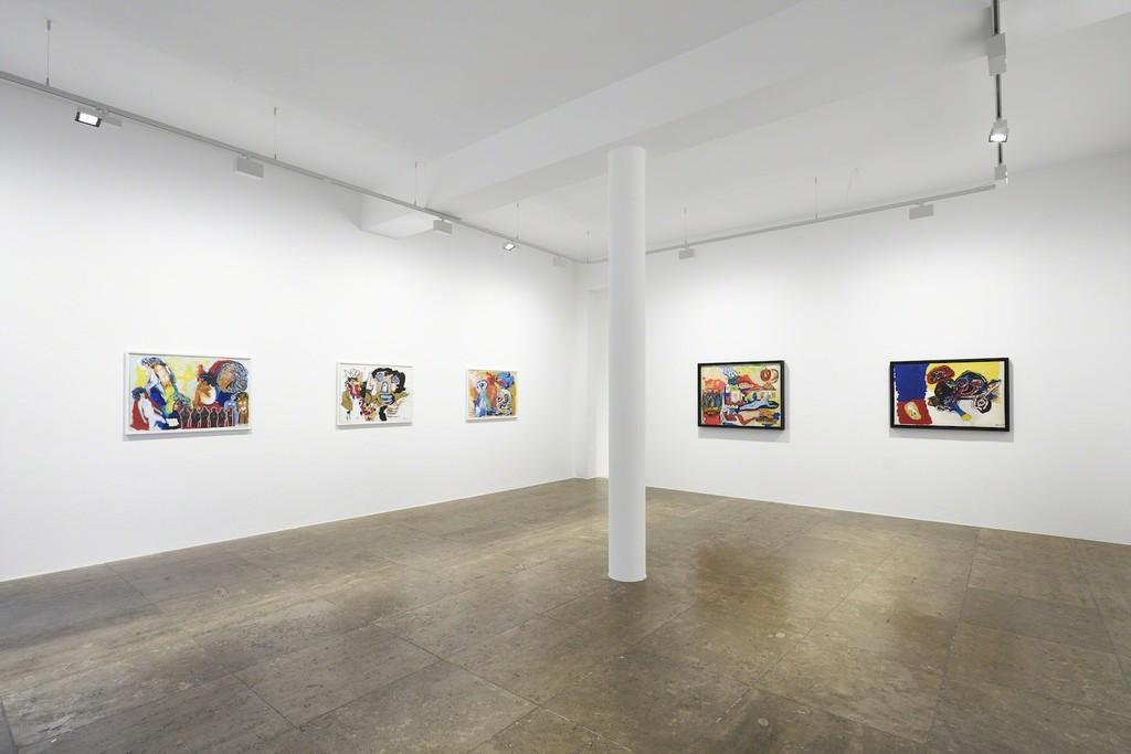 Karel Appel – Tête en Carton. Collages 1960 – 1967, exhibition view, Jahn und Jahn, 2018, © Karel Appel Foundation | VG Bild-Kunst, Bonn, 2018