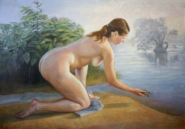 David Molesky, 'Terrapin / nude figure with turtle', 2014, Painting, Oil on linen, Andra Norris Gallery