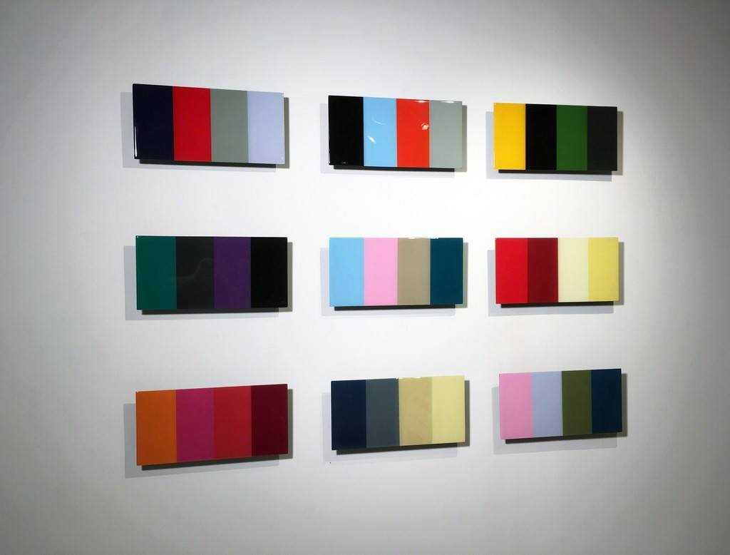 David E. Peterson - (9) Quadrophonics - Acrylic, maple and uv resin - 36x55 inches, set of 9