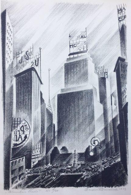 Arnold Ronnebeck, 'Columbus Circle', 1929, Print, Lithograph on Rives wove paper, full margins., Catherine E. Burns Fine Prints