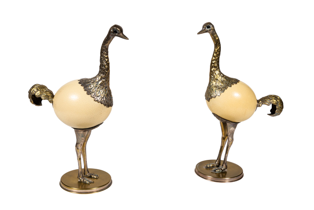 , 'Pair of Ostrich Egg and Pewter Bird Sculptures by Franco Lagini,' ca. 1970, On Madison