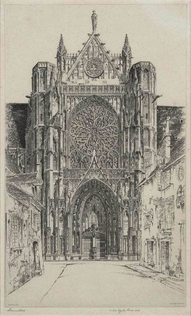 John Taylor Arms, 'Gothic Glory, Sens Cathedral (Fletcher 218)', 1929, Print, Etching, on oatmeal flecked laid paper, Doyle