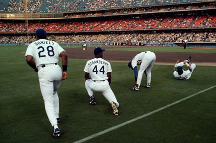 , 'Kal Daniels, Darryl Strawberry, and Gary Carter, Dodgers Stadium, Los Angeles,' 1991, Staley-Wise Gallery