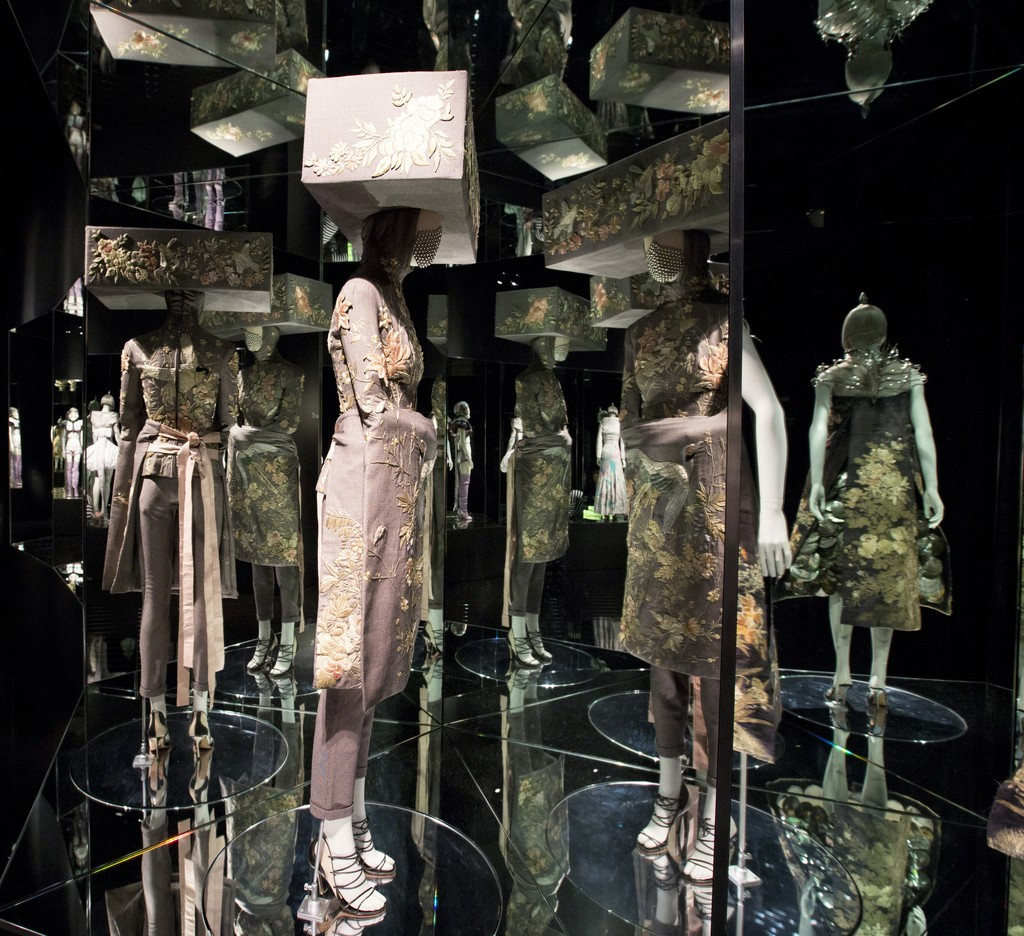 Installation view of 'Romantic Exoticism' gallery. Alexander McQueen: Savage Beauty, at the Victoria and Albert Museum, London,  2015