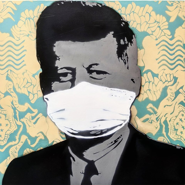 """Kar-Part, '""""Mask, Not What Your Country Can Do For You"""", YELLOW  aerosol on wood ', 2020, Painting, Aerosol on wood, Wallspace"""