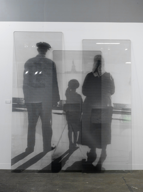 , 'Migrants, after An immigrant family views the Statue of Liberty from the Ellis Island Immigration Station dock, courtesy of National Park Service, Statue of Liberty National Monument, glass panels, 2018,' 2018, Jeffrey Deitch