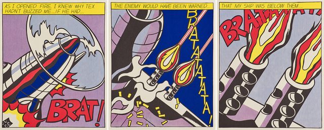Roy Lichtenstein, 'As I Opened Fire', 2000, Print, Tree offset lithographs in colors (triptych), Rago/Wright
