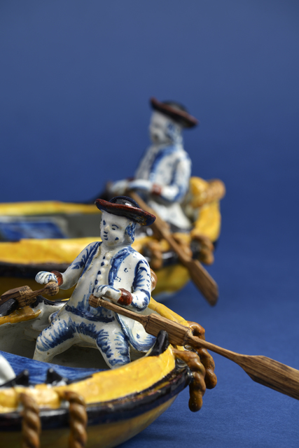 , 'Pair of Polychrome Groups of Two Gentlemen in a Boat,' ca. 1780, Aronson Antiquairs