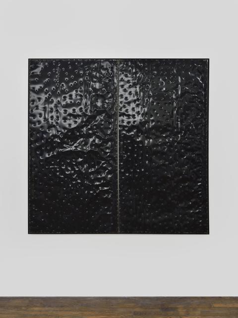 , 'Extrait (tôle,choc) les rêves individuels et les événements de la vie matérielle et sociale, fragment noir,' 2017, Galerie Thomas Bernard