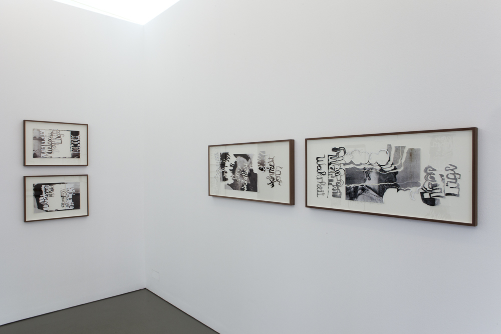 Exhibition view with the framed works of the 'Break Up' and 'Shifted by Force' series; photo: Lukas Heibges
