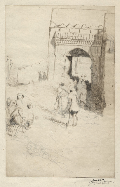 James McBey, 'Road-Menders, Tetuan', 1913, Print, Etching with extensive additions in pencil, Conrad R. Graeber Fine Art