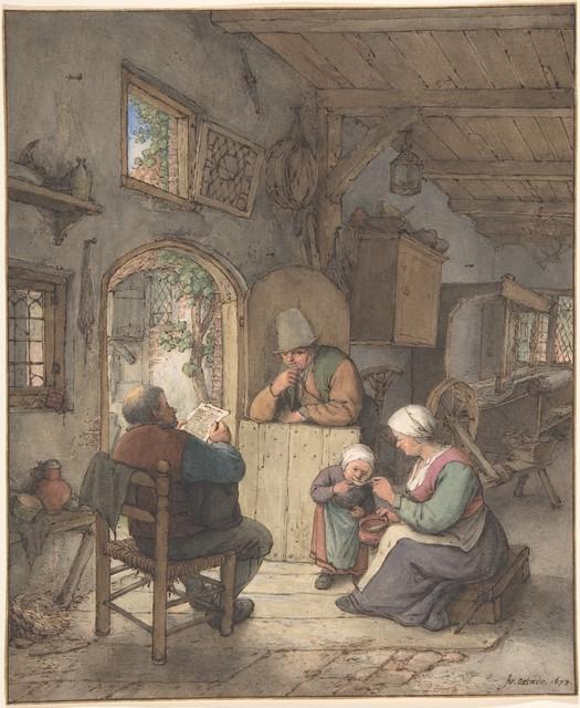 Adriaen van Ostade, 'Reading the News at the Weavers' Cottage', 1673, The Metropolitan Museum of Art