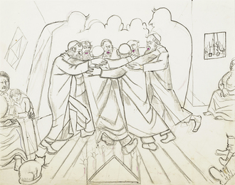 Preliminary drawing for 'Hasidic Dance during the Celebration of Hanukkah, 1967'