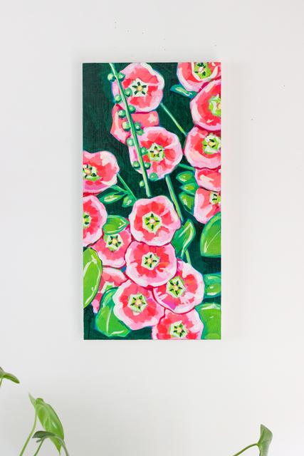 Rachael Nerney, 'Hot Pink Hollyhock ', 2020, Painting, Gouache on wood panel, Miller Gallery Charleston