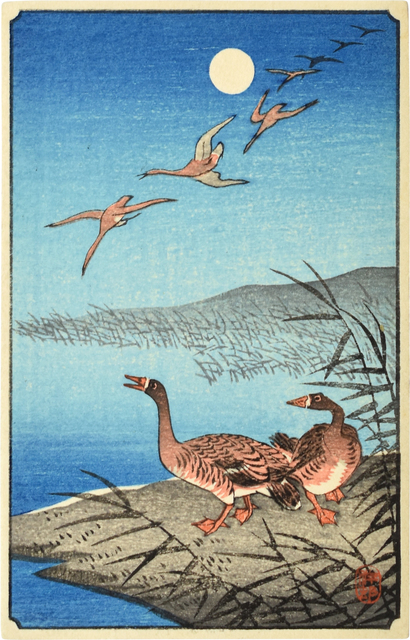 Ohara Koson, 'White-fronted Geese Among Reeds and in Flight', ca. 1930s, Scholten Japanese Art