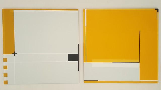 , '2 Carrés - gris clair - jaune / Art Construit,' 2017, Galerie Marie-Robin