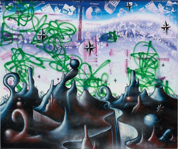Kenny Scharf, 'Sinoscapia', 2006, Mixed Media, Oil , acrylic, enamel and silkscreen ink on linen, Rosenfeld Gallery LLC