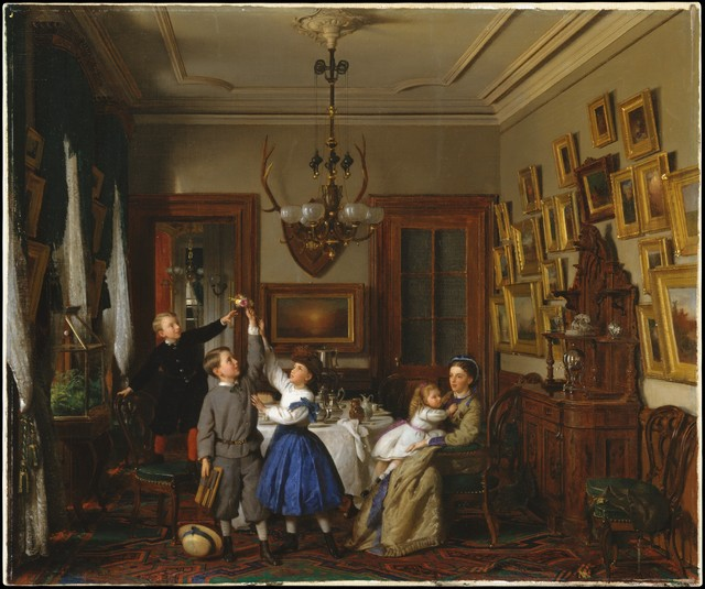 Seymour Joseph Guy, 'The Contest for the Bouquet: The Family of Robert Gordon in Their New York Dining-Room', 1866, The Metropolitan Museum of Art