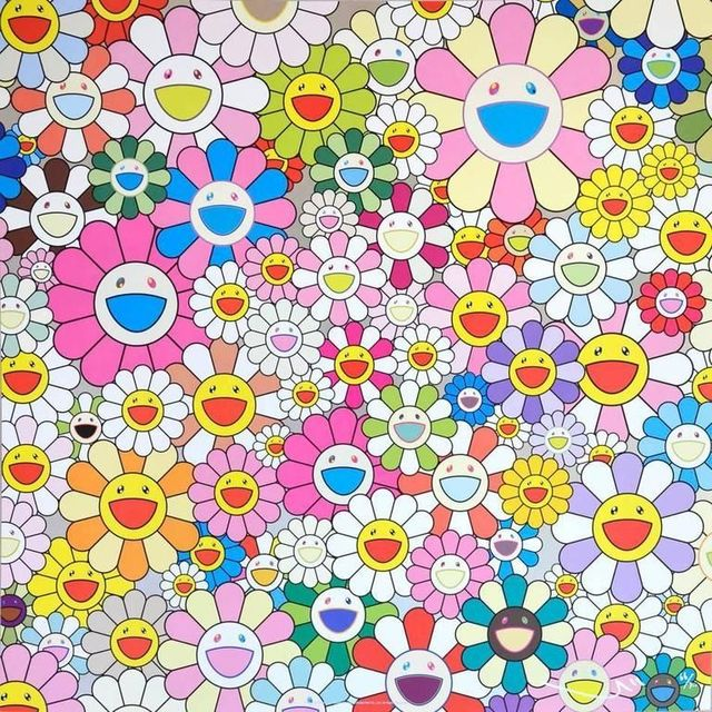 Takashi Murakami, 'Flower Smile', 2011, Print, Offset lithograph in colors with silver foil on smooth wove paper, Lougher Contemporary