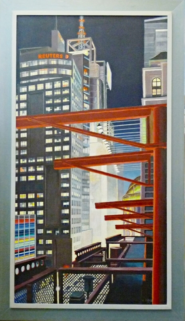 Richard Haas, '42nd Street at Night from Multiplex Cinema Roof', 2008, Alpha 137 Gallery