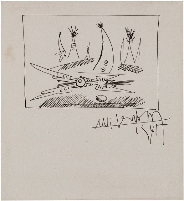 Wifredo Lam, 'Oiseau avec son oeuf', 1945, Drawing, Collage or other Work on Paper, Ink on paper, Finarte