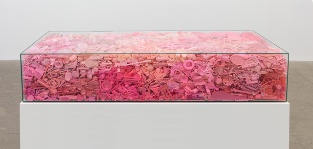 Portia Munson, 'Her Coffin', 2016, Sculpture, Found plastic, tempered glass, and recycled wood table, P.P.O.W