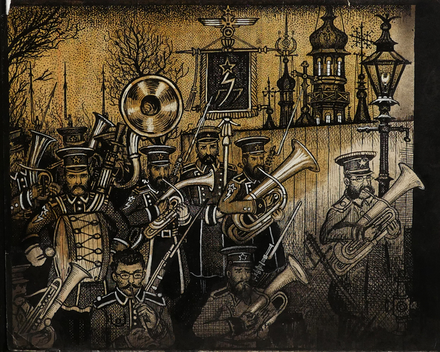 Renaldo Kuhler, 'Gorghendi Kahn Proclaims Martial Law (Janissary Band Marching)', 1957, Ricco/Maresca Gallery