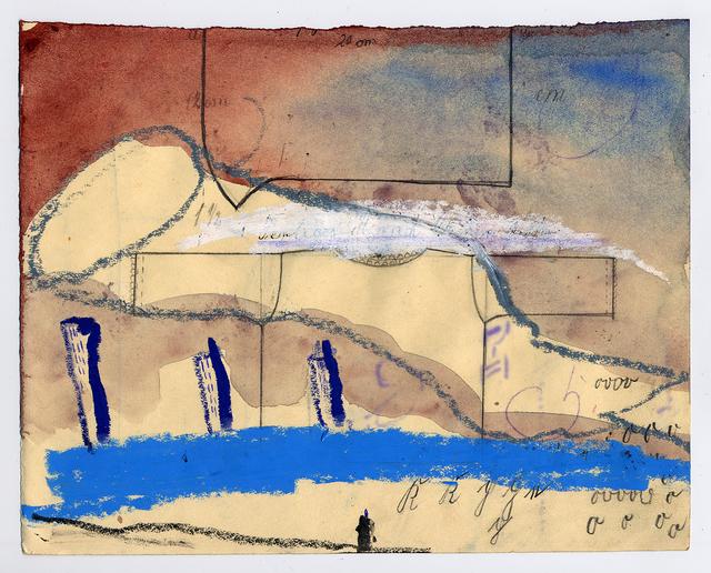 , 'Landschaft mit 3 Hochhäusern, Figur und Himmelserscheinung,' 1998, Jahn und Jahn