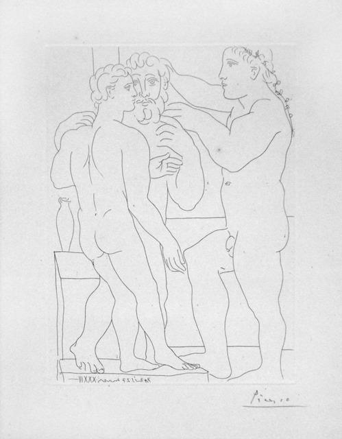 Pablo Picasso, 'Deux Hommes Sculptes - Three Nude Men Standing', 1933, Print, Drypoint Etching, Puccio Fine Art