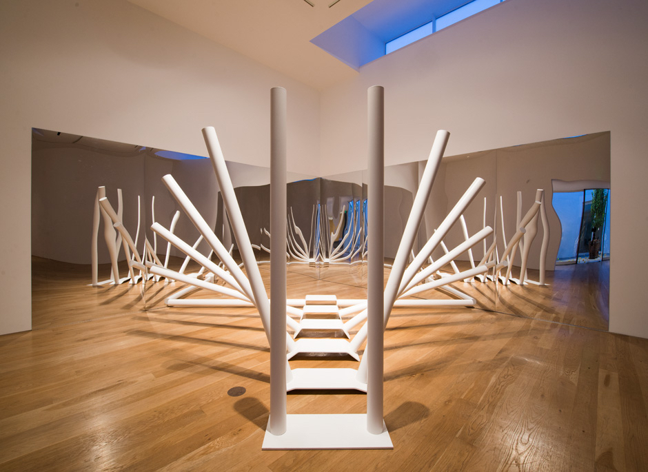 """Ray Barrie, """"Physical Limits II,"""" 2014. 6 units, cor-ten steel plate, cold pressed steel tubes, powder coating, and acrylic mirror. 8 x 16 x 16 feet overall"""