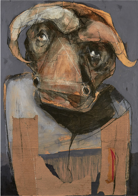 Bassem Dahdouh, 'Human Bull 1', 2016, Painting, Mixed media on canvas, Janet Rady Fine Art