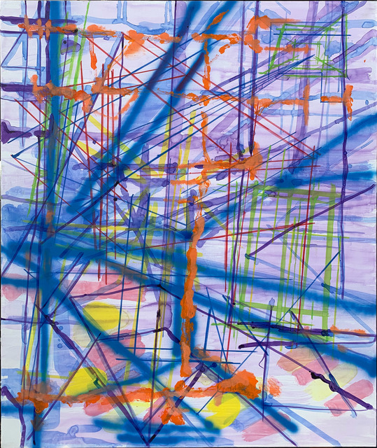 Lorraine Tady, 'Overlook Mountain, Woodstock, NY (Blue Shift/Tower/Octagon Vibration Series 3 - Tryp 1)', 2020, Painting, Acrylic on canvas, Barry Whistler Gallery