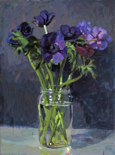 Laurent Dauptain, 'Anémones, fond gris I', Hugo Galerie