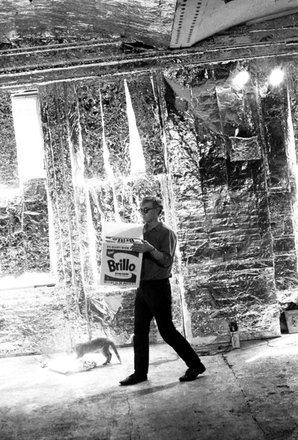 , 'Andy Warhol carries a Brillo Box Sculpture with Ruby the cat,' 1964, Milk Gallery
