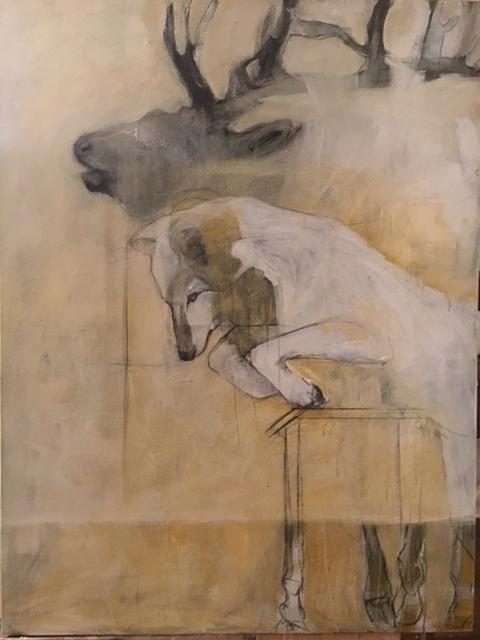 , 'Elk and Wolf,' 2017, Diehl Gallery