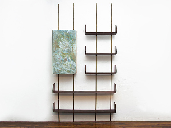 Shelving system with integrated bar by Adriano di Spilimbergo