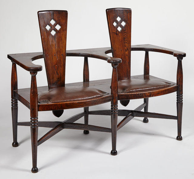 'Arts & Crafts Oak and Leather Double Chair-Form Settee', circa  1900, Design/Decorative Art, Doyle