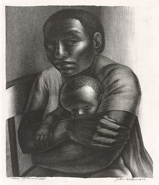 John Wilson, Mother and Child, study for The Incident, 1956. Lithograph. Yale University Art Gallery, Everett V. Meeks, b.a. 1901, Fund. © Estate of John Wilson