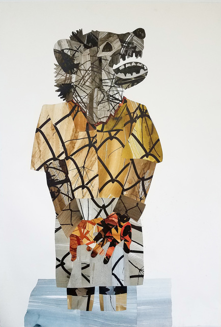J. D. Perkin, 'Wolf', 2018, Drawing, Collage or other Work on Paper, Mixed media collage, acrylic and ink on paper, Russo Lee Gallery