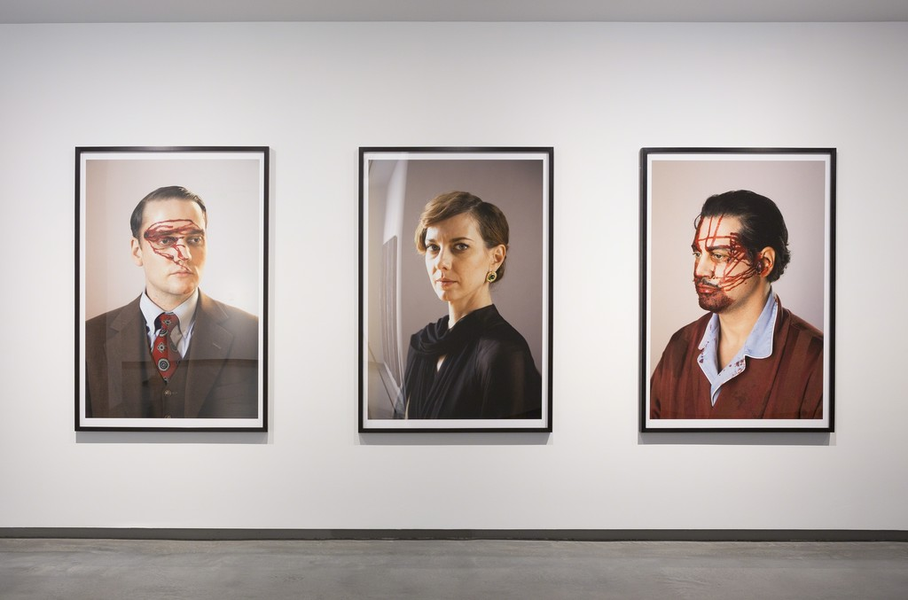 Kerry Tribe, left to right: Sam, Camille, Joe, 2012, installation view, Telling Tales: Excursions in Narrative Form, Museum of Contemporary Art Australia, 2016, c-type print, image courtesy the artist and Museum of Contemporary Art Australia © the artist, photograph: Jessica Maurer