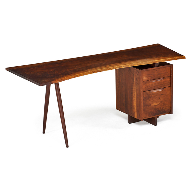 George Nakashima, 'Single Pedestal Turned-Leg Desk, New Hope, PA', 1955, Rago/Wright