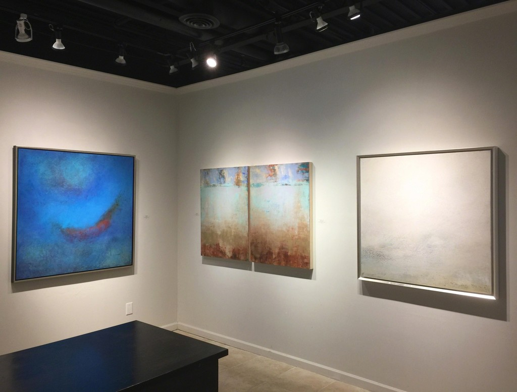 Signs of Spring exhibition, (L) Scott Upton, Finding Magic, mixed media on canvas, 48 x 48 inches; (C) Allison B Cooke , Diventando I & II, mixed media on panel, 40 x 30 inches; (R) Scott Upton, Natural Light, mixed media on canvas, 40 x 40 inches