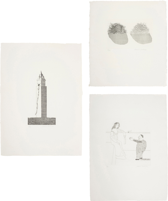 David Hockney, 'The Tower Had One Window; Straw on the Left, Gold on the Right; and Pleading for the Child, plates 16, 36 and 37 from Illustrations for Six Fairy Tales from the Brothers Grimm', 1969, Phillips