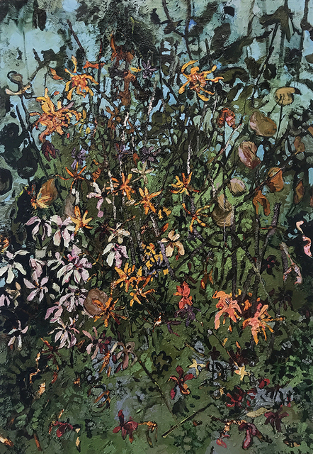 Rebecca Saylor Sack, 'Zinnias ', 2018, Painting, Oil on panel, J. Cacciola Gallery