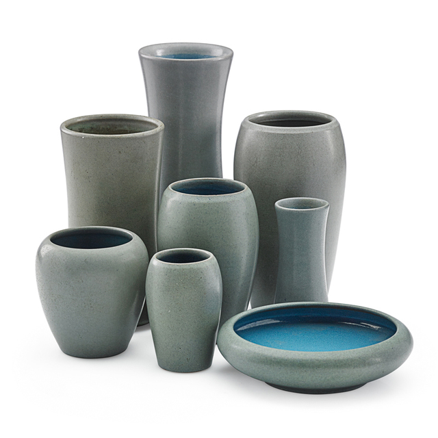 Marblehead Pottery, 'Eight Gray Vases, Marblehead, MA', Early 20th C., Rago/Wright
