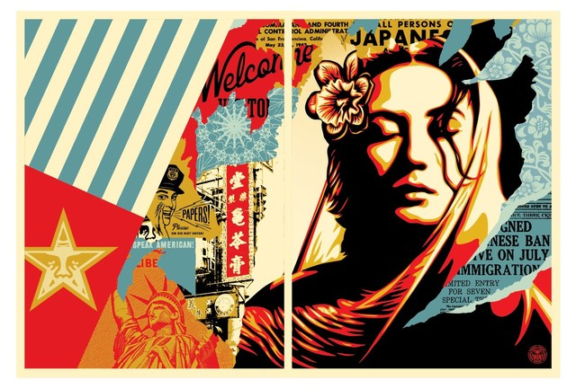 Shepard Fairey, 'Welcome Visitors Diptych', 2017, Print, Screen print, Dope! Gallery